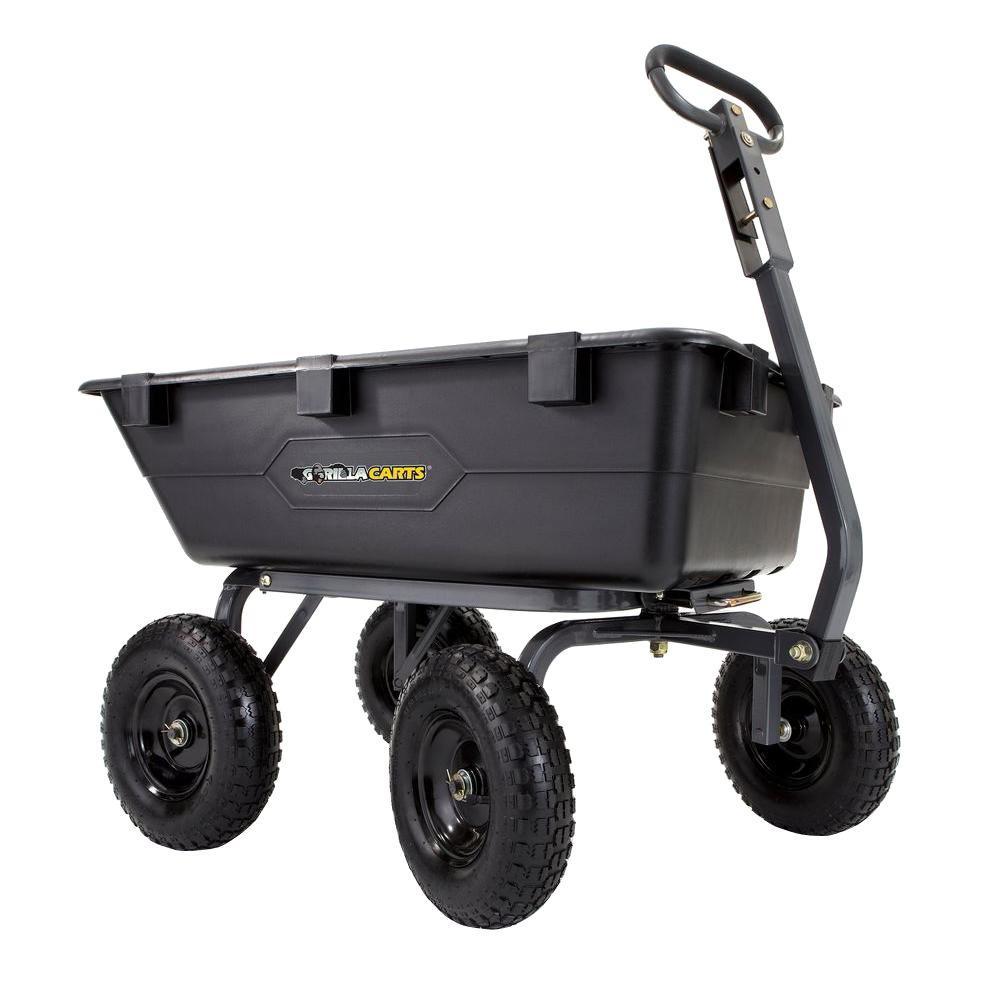 Gorilla Carts 1 200 Lb Heavy Duty Poly Dump Cart Gor6ps The Home Depot