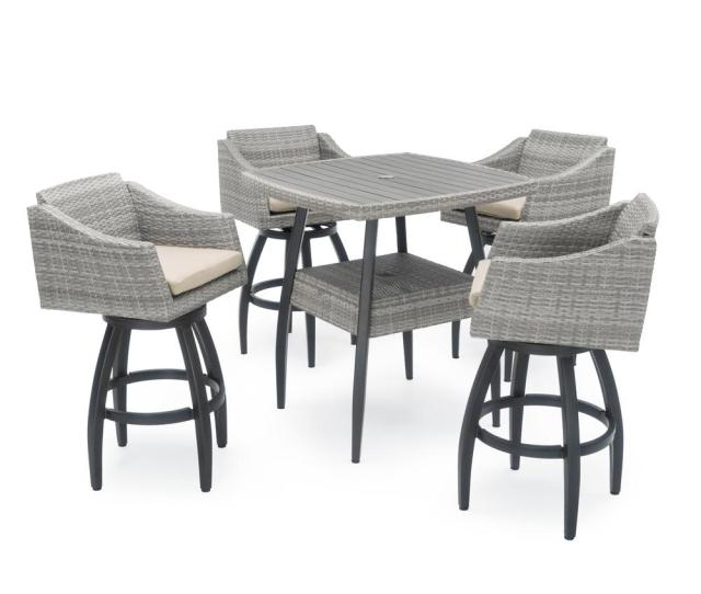 Cannes  Piece Wicker Outdoor Bar Height Dining Set With Slate Grey