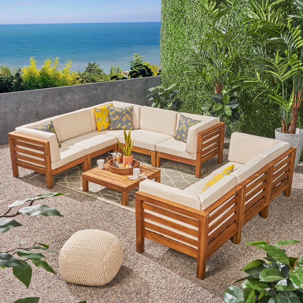 Noble House Jonah Teak Finish 9-Piece Wood Outdoor ... on Outdoor Loveseat Sets  id=92510