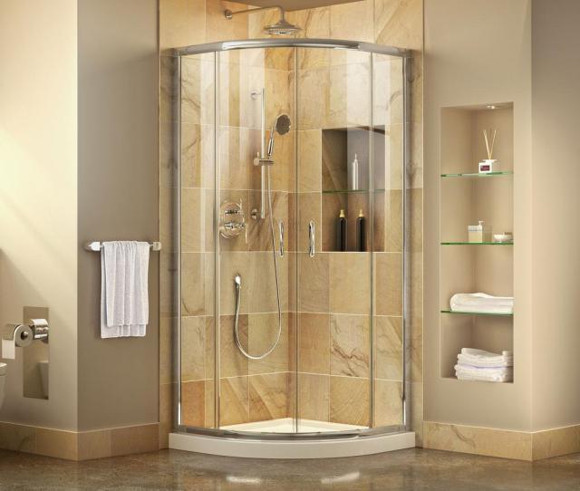 H Corner Semi Frameless Sliding Shower Enclosure In Chrome With Shower Base In White