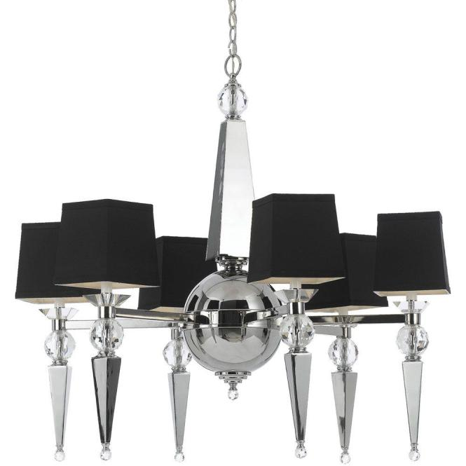 Af Lighting Clark 6 Light Chrome Chandelier With Crystal Accents And Black Shade