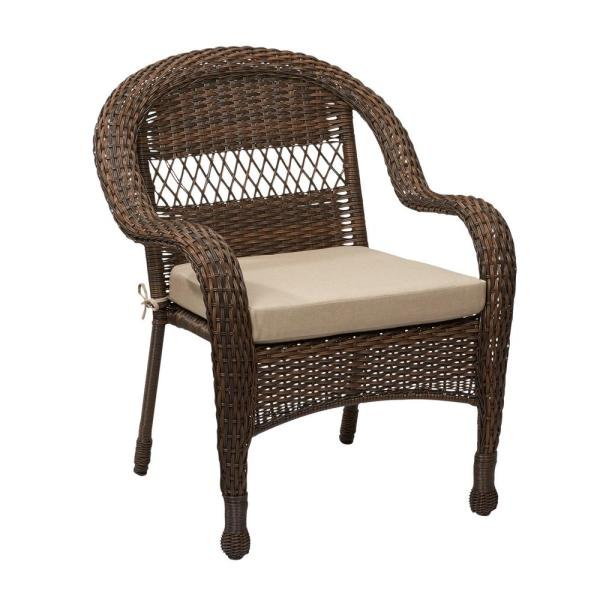 wicker patio furniture cushions Hampton Bay Mix and Match Brown Wicker Outdoor Stack Chair