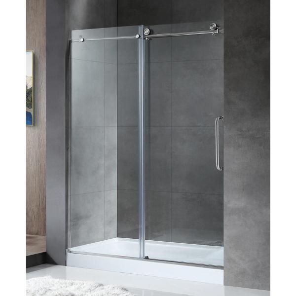 ANZZI MADAM Series 48 in  by 76 in  Frameless Sliding Shower Door in     Frameless Sliding Shower Door in Brushed