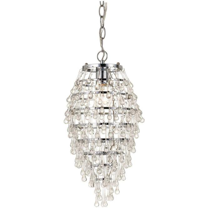 Af Lighting Crystal Teardrop 1 Light Chrome Mini Chandelier With Clear Drop Glass Accents