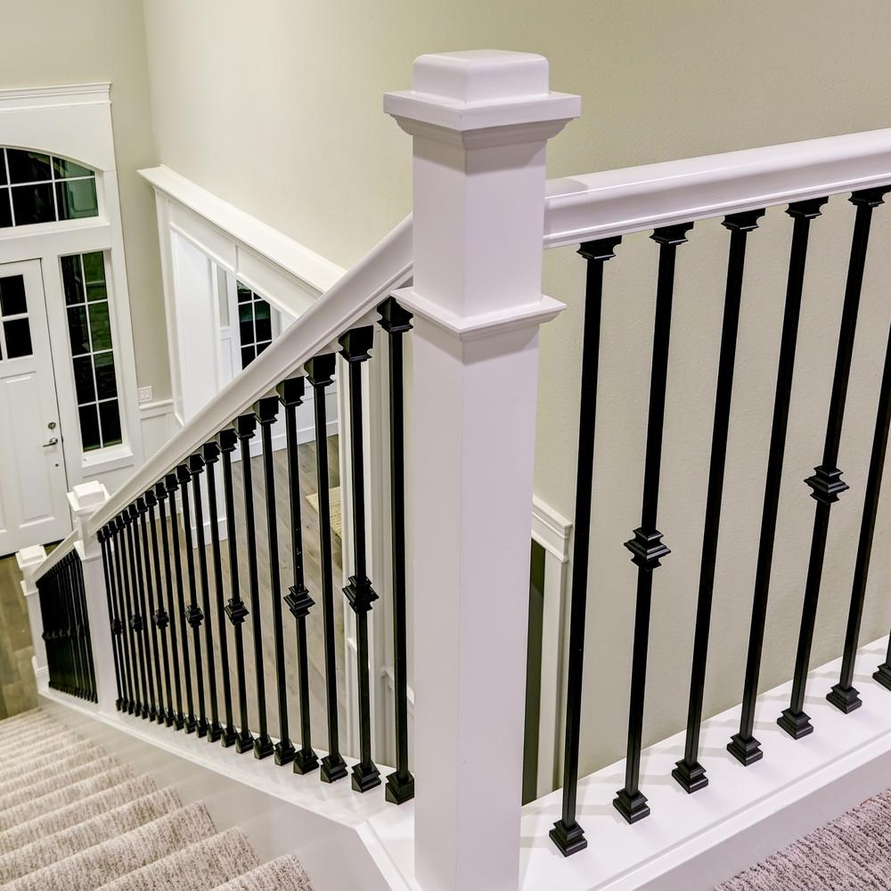Stair Parts 1 2 In Matte Black Metal Angled Baluster Shoe I350B | Indoor Wrought Iron Railings Home Depot | Cast Iron | Balcony | Iron Baluster | Wood | Iron Stair Rail