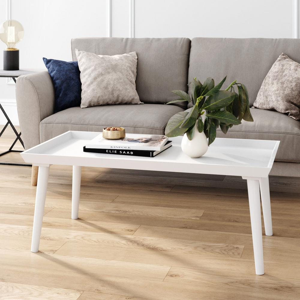 nathan james hazel 41 in white large rectangle wood coffee table with narrow cone legs 31601 the home depot