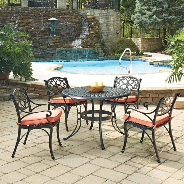 home depot 5 piece patio dining sets Home Styles Biscayne Black 5-Piece Cast Aluminum Outdoor