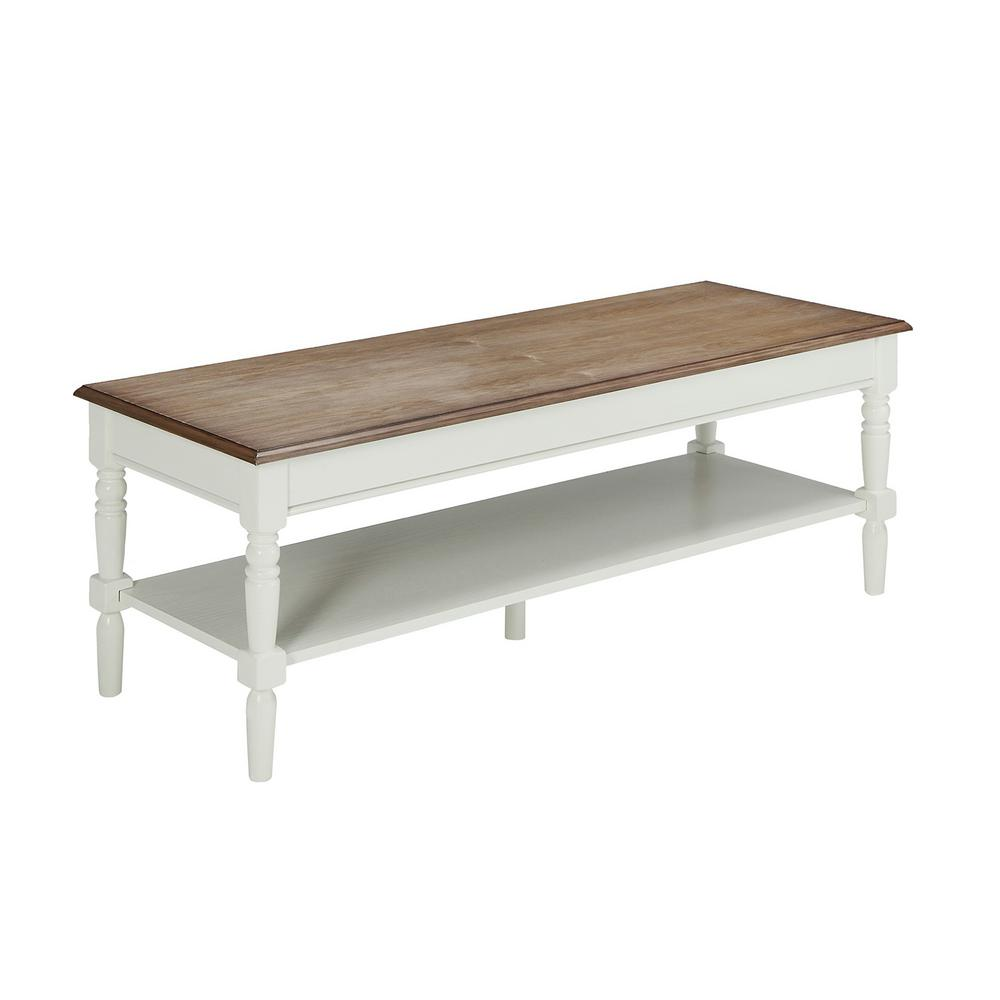 convenience concepts french country 48 in driftwood white large rectangle wood coffee table with shelf 6042184dftw the home depot