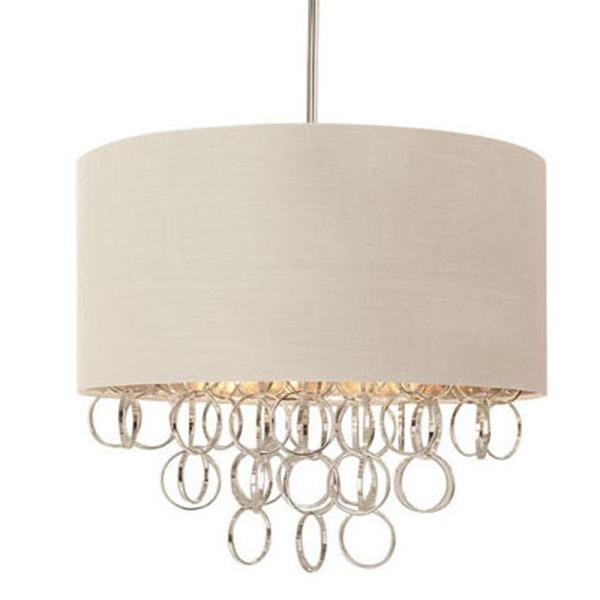 Drum   Pendant Lights   Lighting   The Home Depot 3 Light Cascading Ring Polished Nickel Pendant with White Drum Shade