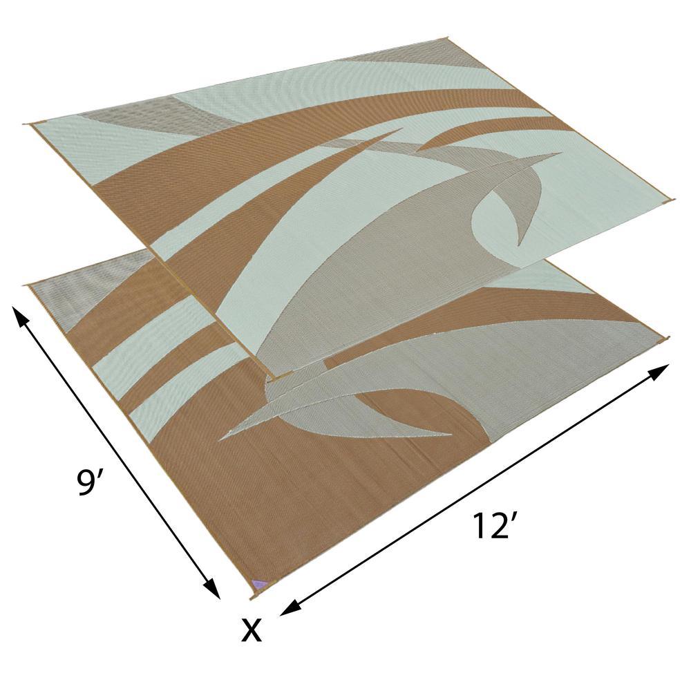 reversible mats 12 ft x 9 ft reversible rv patio mat swirl brown or beige