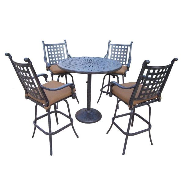 5 piece outdoor patio bar set Oakland Living Belmont 42 in. 5-Piece Patio Bar Set with