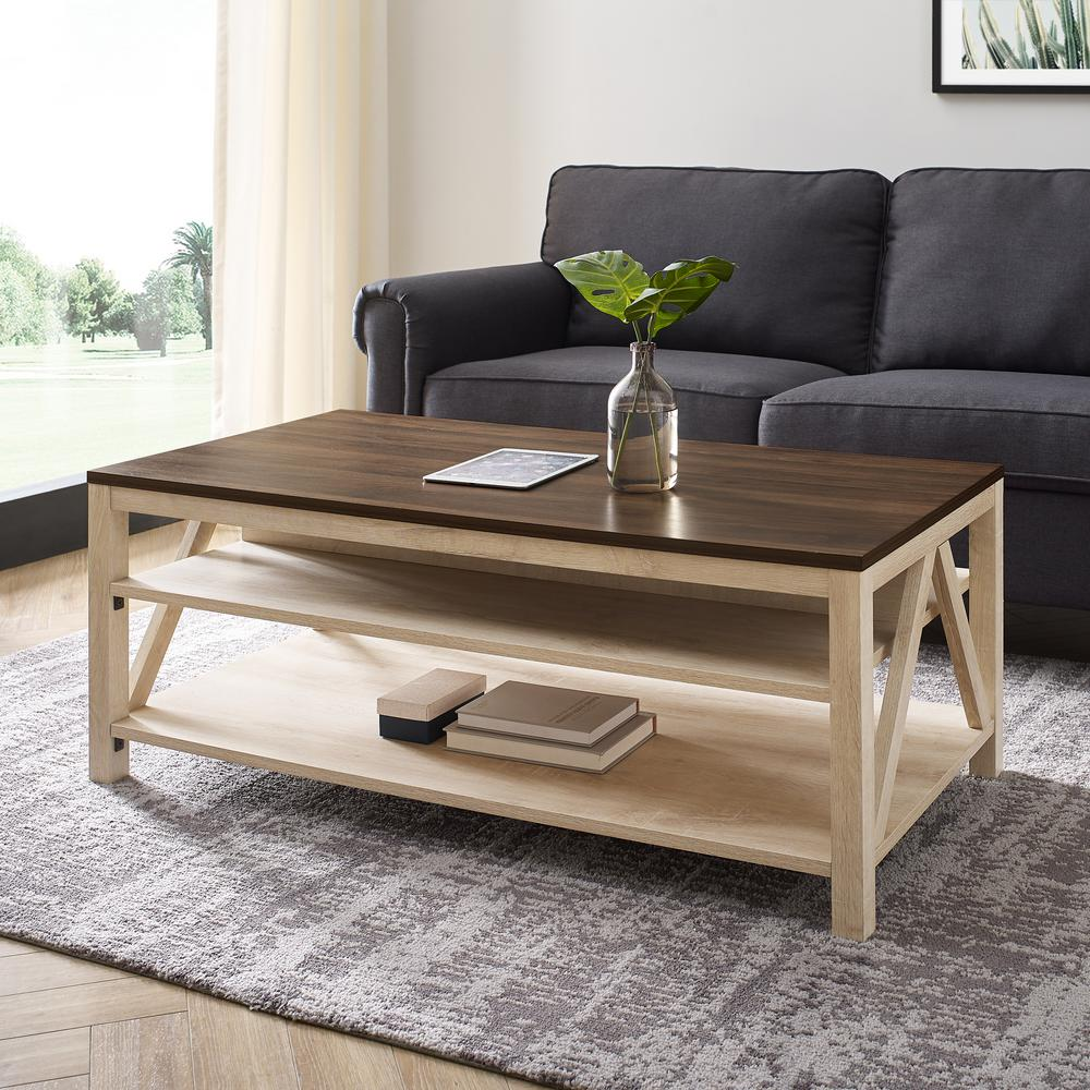 welwick designs 48 in dark walnut white oak large rectangle wood coffee table with shelf hd8621 the home depot