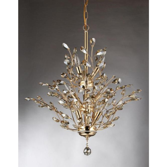 Gi 13 Light Gold Indoor Leaf Like Crystal Chandelier With Shade
