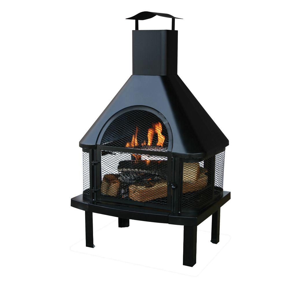 UniFlame 45 in. Outdoor Fireplace with Chimney-WAF1013C ... on Costco Outdoor Fireplace  id=83664