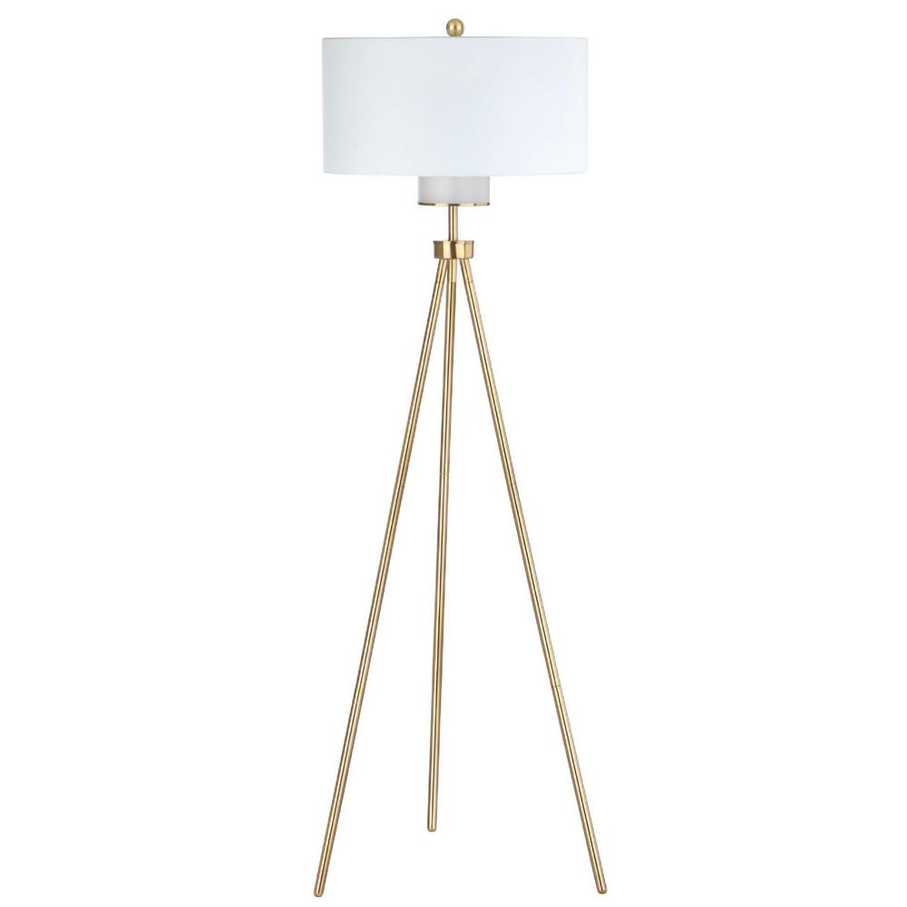 safavieh enrica 66 in brass gold triangle floor lamp with off white shade fll4008a the home depot