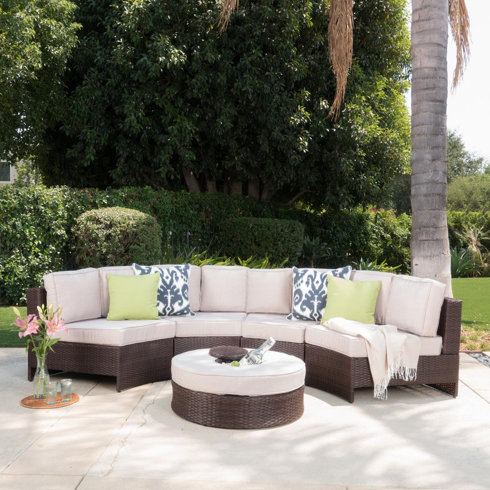 Noble House 5-Piece Wicker Patio Sectional Seating Set ... on 5 Piece Sectional Patio Set id=39123