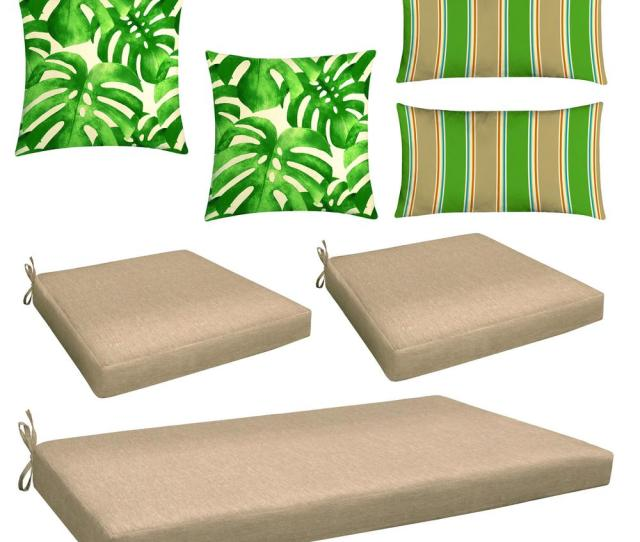 Neutral 7 Piece Outdoor Mix And Match Wicker Chair Cushion Set