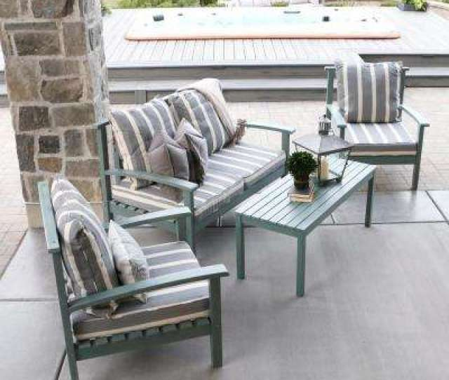 Ocean Grey Acacia Wood  Piece Patio Conversation Set With Cushions