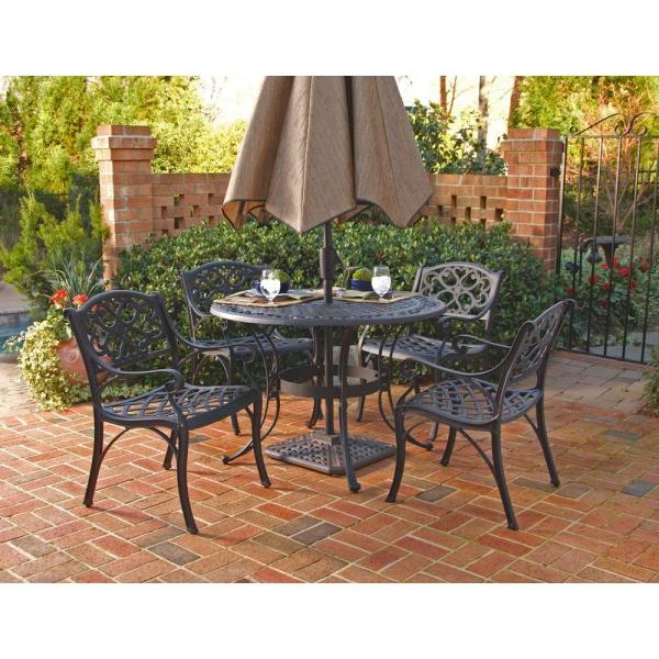 home depot 5 piece patio dining sets Home Styles Biscayne Black 5-Piece Patio Dining Set-5554