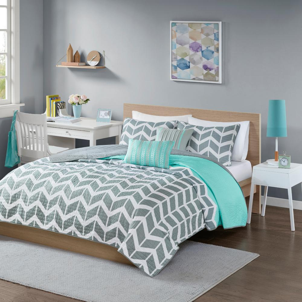intelligent design laila 4 piece teal twin coverlet set id80 502 the home depot