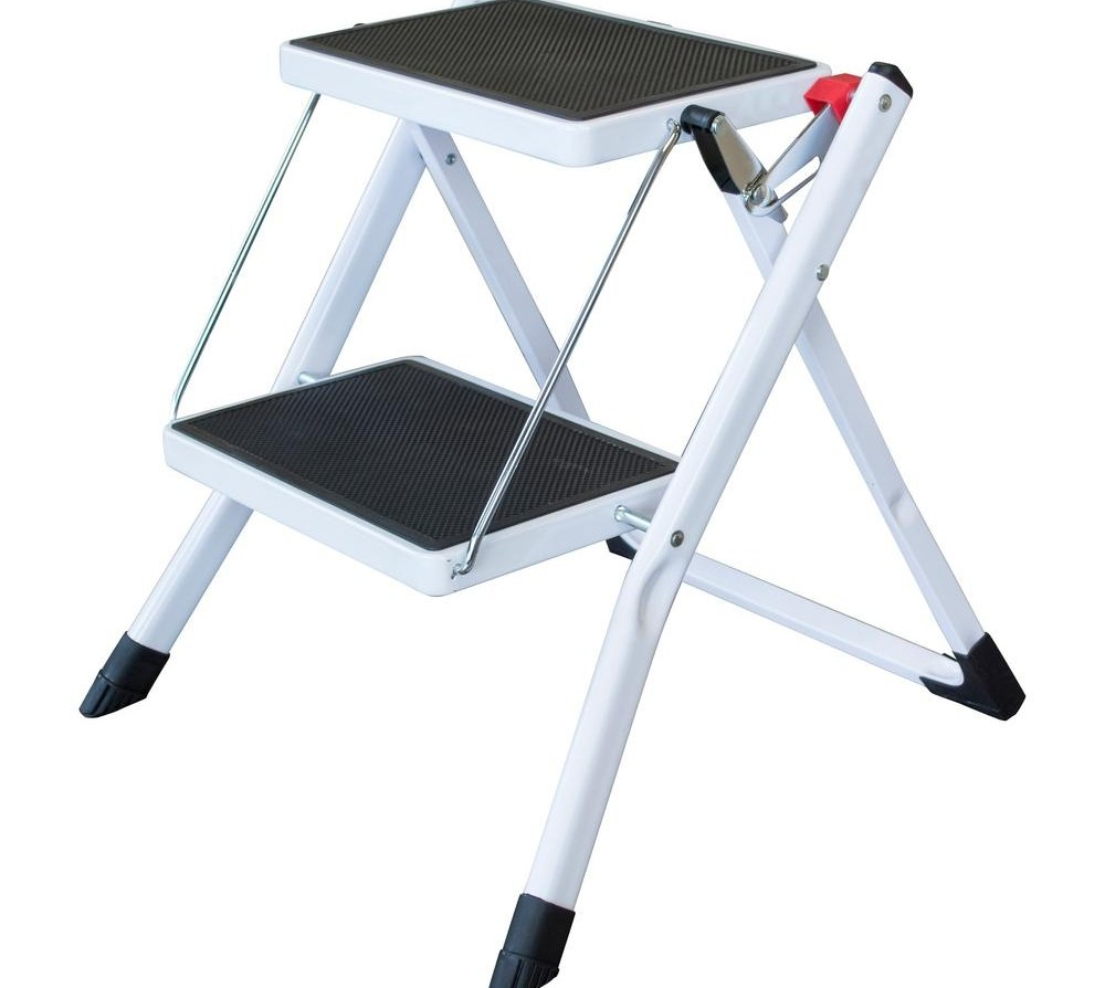 Amerihome 2 Step Steel Folding Mini Step Ladder With 225 Lbs Load | Metal Steps Home Depot | Roofing | Galvanized Steel | Step Stool | Gorilla Ladders | Wrought Iron Railings
