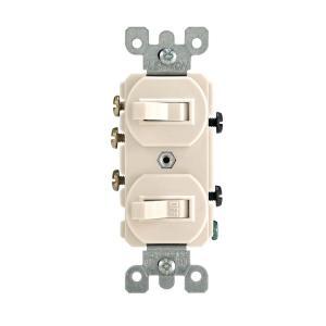 Leviton 15 Amp 3Way Combination Double Switch, Light