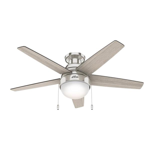Hunter Parmer 46 in  LED Indoor Brushed Nickel Flush Mount Ceiling     LED Indoor Brushed Nickel Flush Mount Ceiling Fan