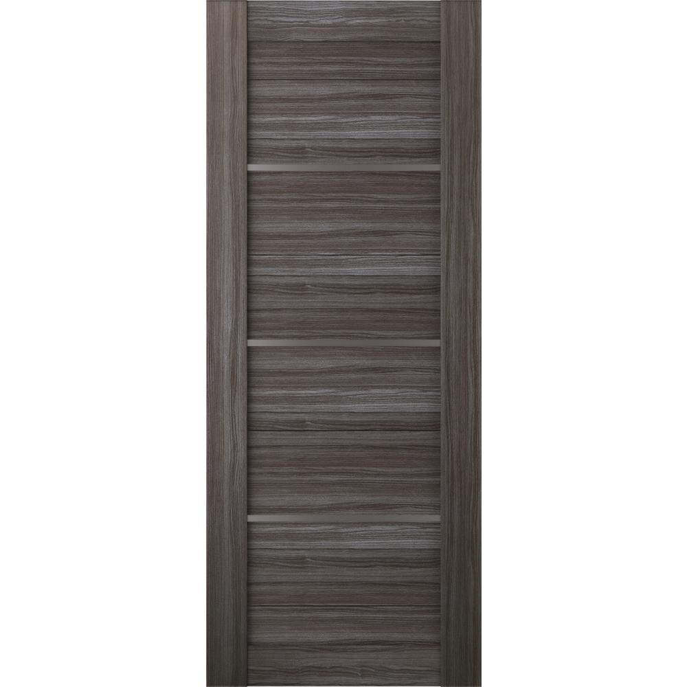 belldinni 32 in x 80 in gray oak finished with Bay 32 In X 80 In 32 In Clear 6 Panel Solid id=80455