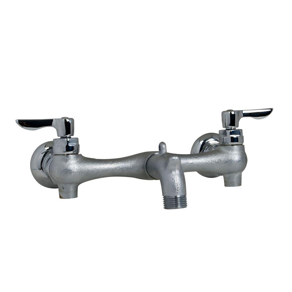 reviews for american standard exposed yoke wall mount 2 handle utility faucet in rough chrome 8350235 004 the home depot