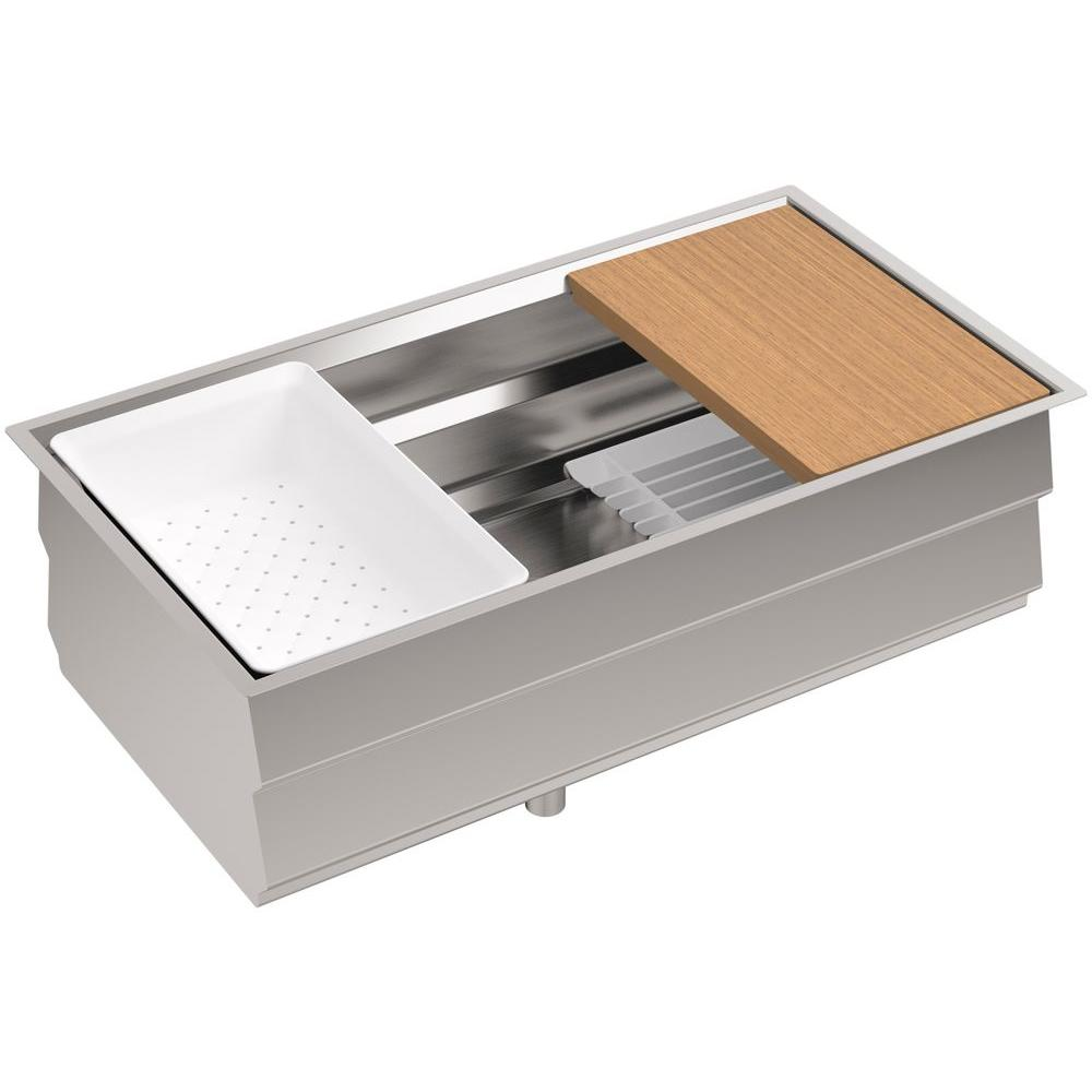 KOHLER Prolific Undermount Stainless Steel 33 In Single Bowl Kitchen Sink Kit With Accessories