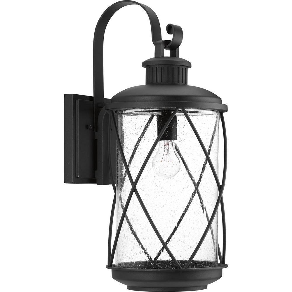 Progress Lighting Hollingsworth Collection 1-Light Black ... on Sconce Outdoor Lighting id=75516