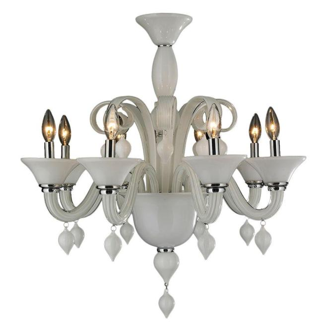 Worldwide Lighting Murano Venetian Style 8 Light White N Glass Chandelier
