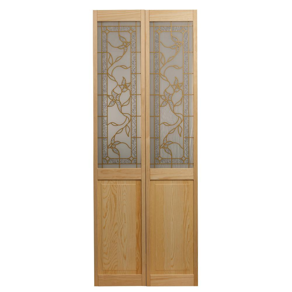pinecroft 30 in x 80 in tuscany decorative glass solid on Pinecroft 30 In X 80 In Unfinshed Pine Wood 2 Panel Square id=85793