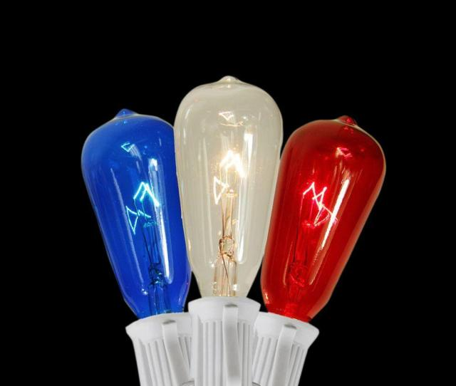 Light Transparent Red Blue And Clear St Edison Style Th Of July Christmas Lights