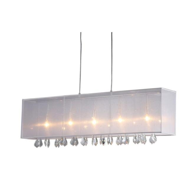 Jess 5 Light Chrome Crystal And Mesh Indoor Bar Chandelier With Shade