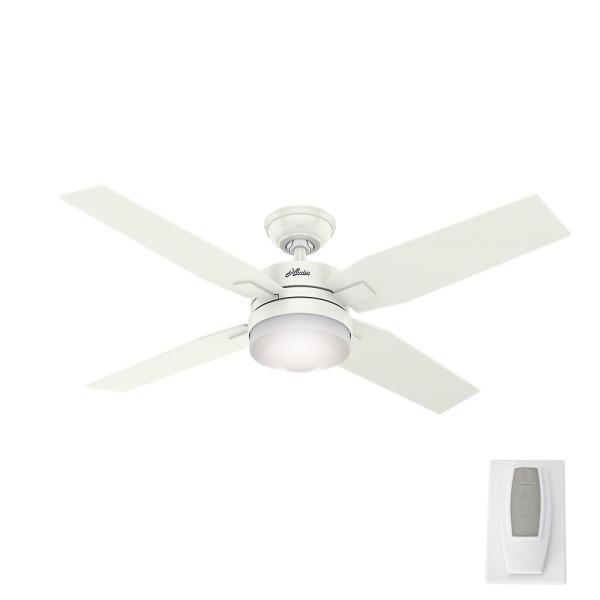 Hunter Mercado 50 in  LED Indoor Fresh White Ceiling Fan with Light     LED Indoor Fresh White Ceiling Fan with Light and Universal Remote