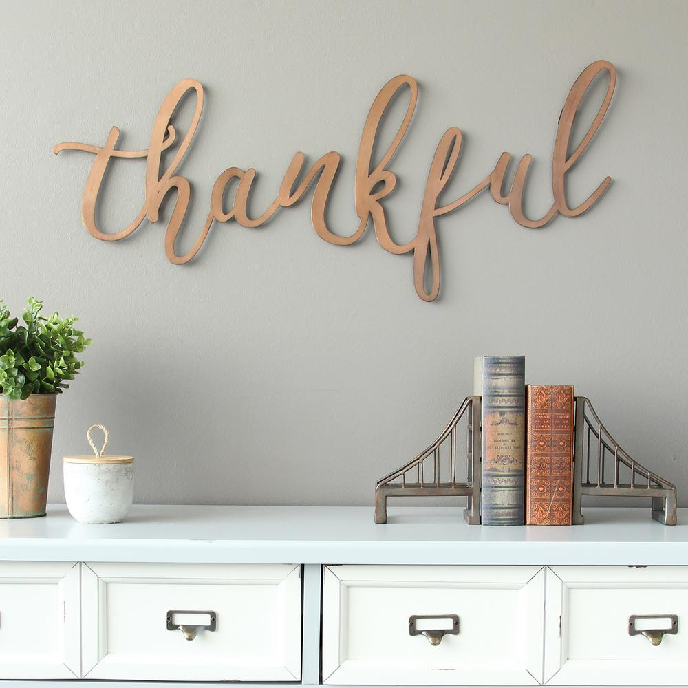 """Stratton Home Decor Bronze """"thankful"""" Script Decorative ... on Home Wall Decor Signs id=20163"""