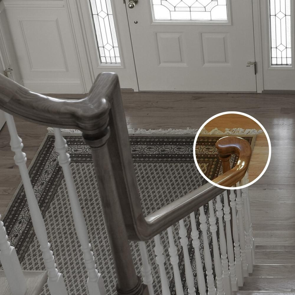 Stair Parts 7245 Unfinished Wood Poplar Right Hand Turnout Stair | Poplar Stair Treads Home Depot | Newel Cap | 000 0000L | Quarter Turn | Baluster | Rosette