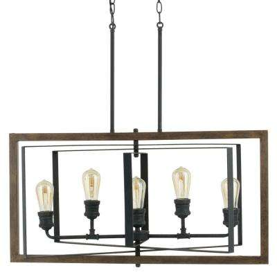 Palermo Grove Collection 5 Light Black Gilded Iron Linear Chandelier