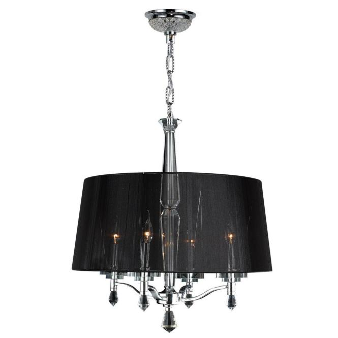 Worldwide Lighting Gatsby 4 Light Polished Chrome Crystal Black Drum Chandelier With Fabric Shade