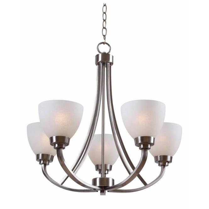 Hampton Bay Hastings 5 Light Brushed Steel Chandelier With White Glass Shades Hdp12055 The Home Depot
