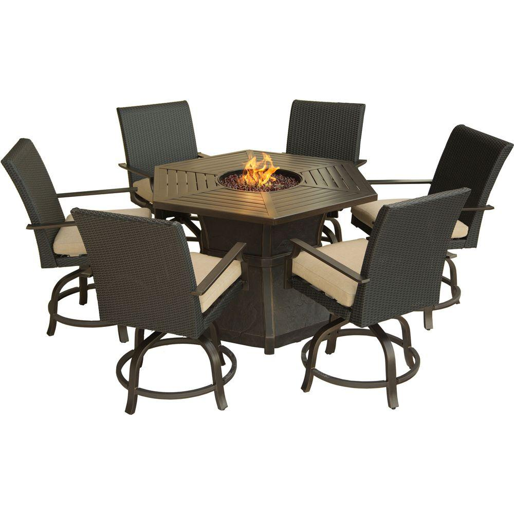 Hanover Aspen Creek 7-Piece Patio Fire Pit Dining Set with ... on Outdoor Dining Tables With Fire Pit id=74629