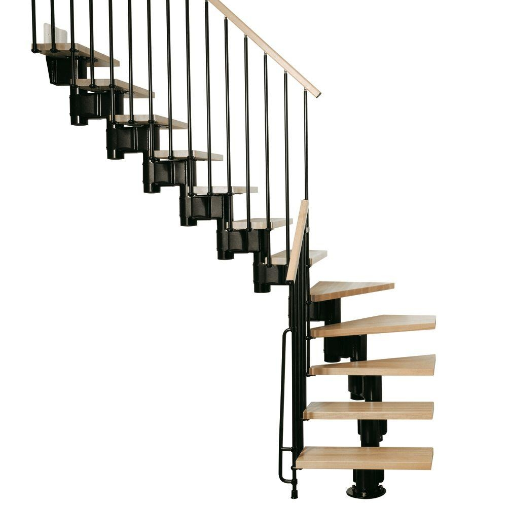 Arke Kompact 29 In Black Modular Staircase L Kit K35001 The | Wood Stairs Home Depot | Treads | Carpeted Stairs | Stair Railing | Oak Stair Nose | Laminate Flooring