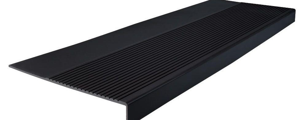Roppe Light Duty Ribbed Design Black 12 1 4 In X 36 In Rubber | Outdoor Rubber Stair Treads Home Depot | Riser | Coin Grip | Rubber Cal | Stair Mats | Recycled Rubber