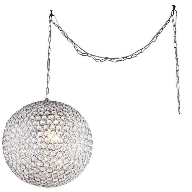 Round Crystal Swag Chandelier With Shade Rl79583 The Home Depot