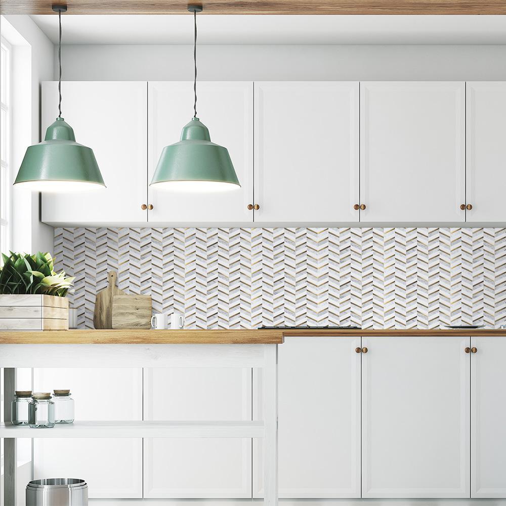 white glass tile mosaic backsplash