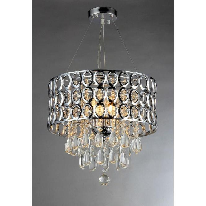 Warehouse Of Tiffany Antoinette 3 Light Chrome Crystal Indoor Chandelier