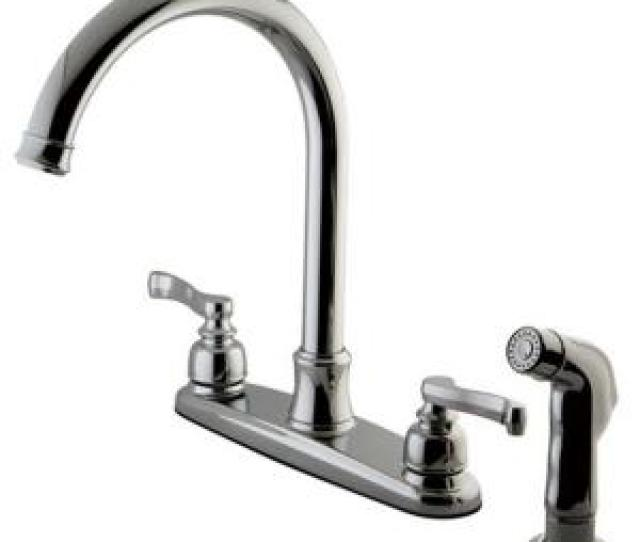 French  Handle Standard Kitchen Faucet With Side Sprayer In Polished Chrome