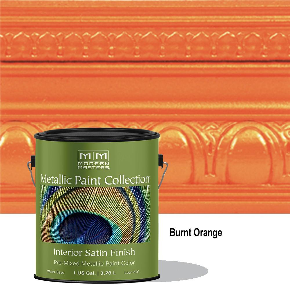 Modern Masters 1 Gal Burnt Orange Water Based Satin Metallic Interior Paint Me702gal The Home Depot