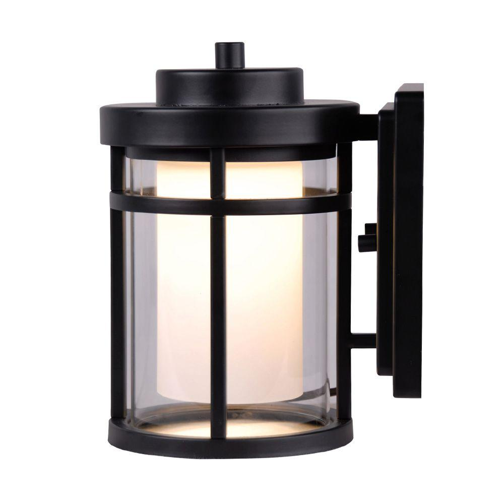 Home Decorators Collection Black Outdoor LED Small Wall ... on Small Wall Sconce Light id=38353